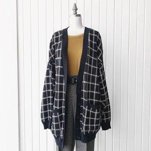 Vintage Windowpane Knit Cardigan Sweater